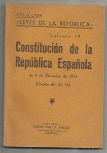 Portada de la Constitución de 1931