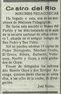 Anuncio de un periódico de Castro del Río anunciando las Misiones