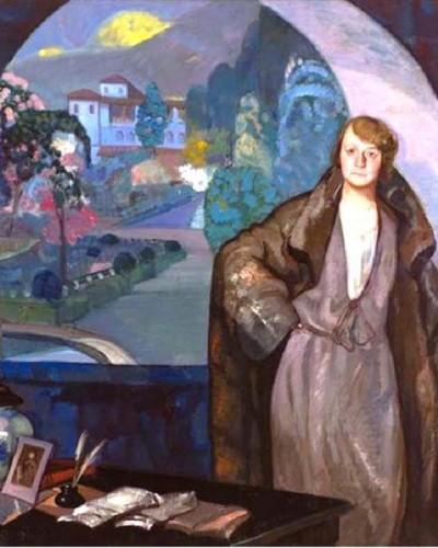 Pintura de María de Maeztu delante de una ventana