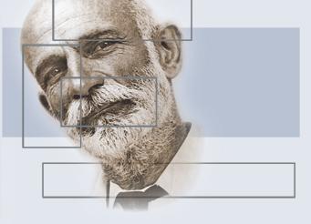 Logo de la Fundación Giner de los Ríos, con el rostro del profesor