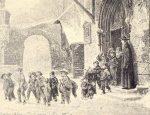 Dibujo de un grupo de niños saliendo de una iglesia