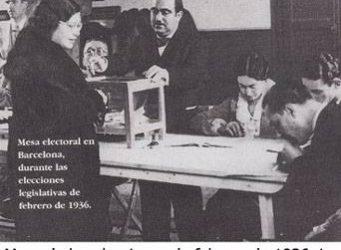 imagen de una mujer en una mesa electoral en 1936