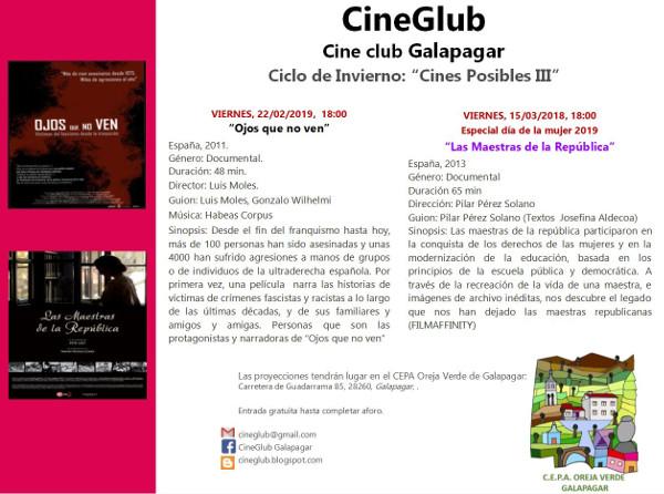 Imagen del anuncio del Ciclo cine de Invierno en Galapagar