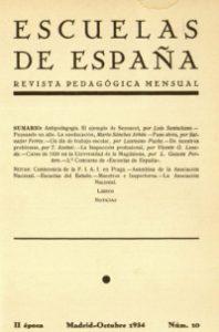 Portada de la revista Escuelas de España